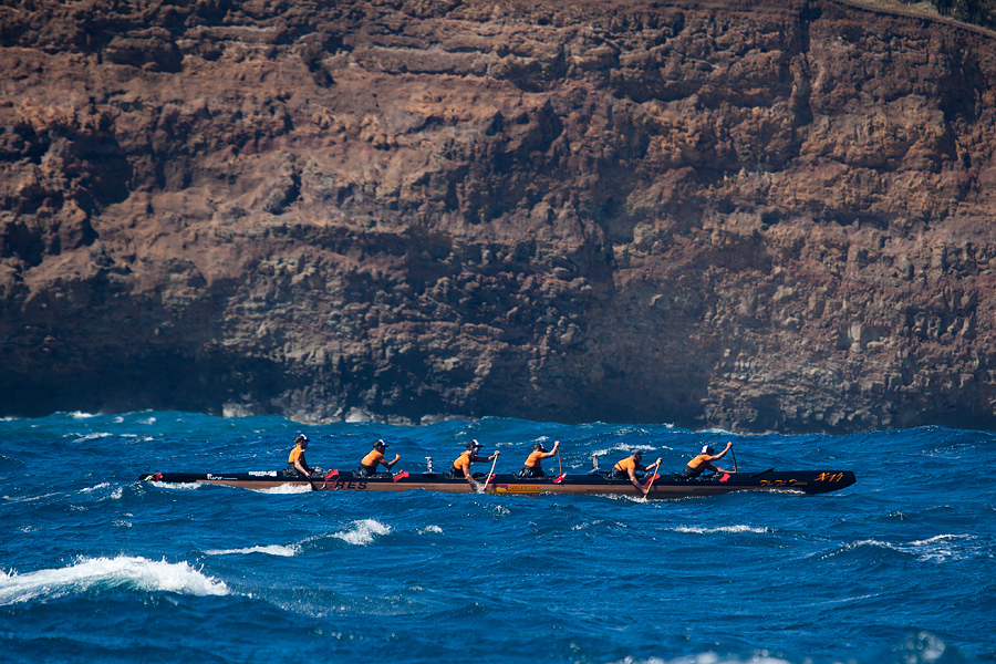 Surf Park with Justin Udvoch in 3 and Ananda Missler in 4, on the Day 2 paddle from Keokea to Kawaihae.