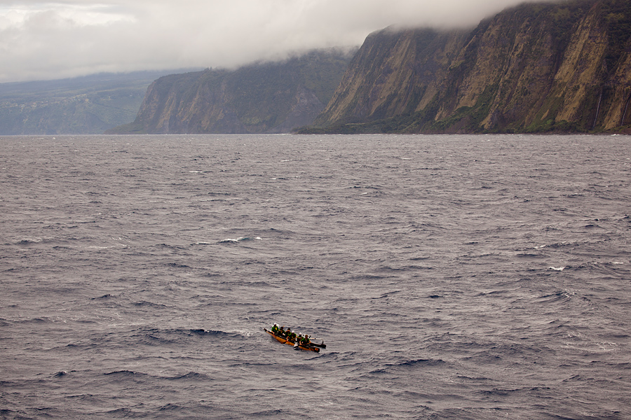 The Surf Park crew paddles Hawaii island's remote northern coast in the first day of the Olamau race.