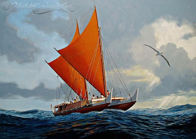 Hokule'a 2006, a painting by Herb Kane